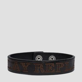 Leather bracelet with Replay writing