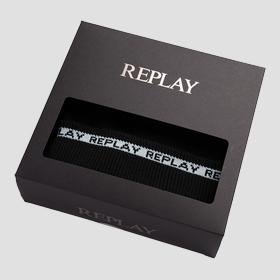 REPLAY scarf and beanie set with striped outline