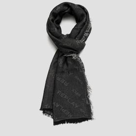 Viscose and modal scarf with all-over REPLAY print