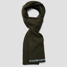 Ribbed scarf with contrasting-coloured outline