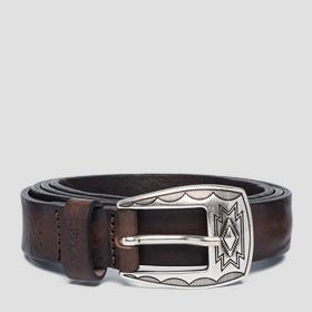 Vintage leather belt with buckle