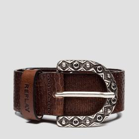 Leather belt with maxi rings