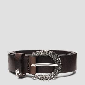 Belt in solid-coloured leather