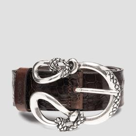 Belt in leather with croc print