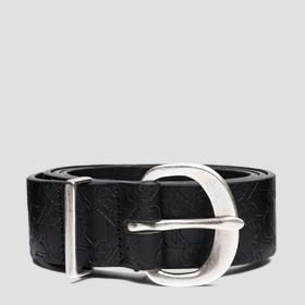 Leather belt with all-over REPLAY pattern