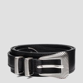 Leather belt with striped engraving