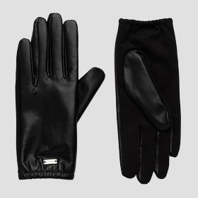 Gloves in solid-coloured smooth leather