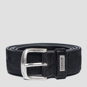Engraved leather belt