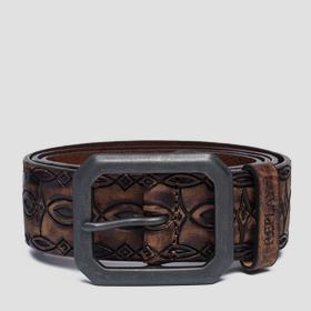 Leather belt with ethnic engravings