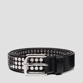 Leather belt with all-over studs