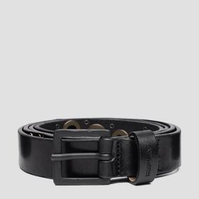 Leather belt with pierced details