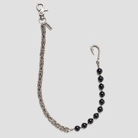 Metal jeans chain with pearls