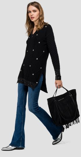 Maxi sweater with shiny studs