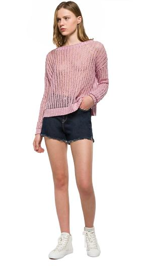 Perforated pure linen jumper dk2001.000.g22082