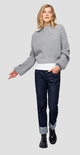 Wool blend ribbed pullover