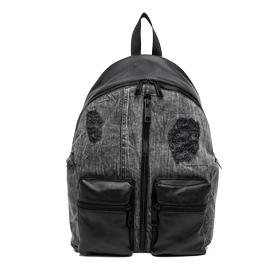 Washed denim and leather backpack fm3293.000.a3155a