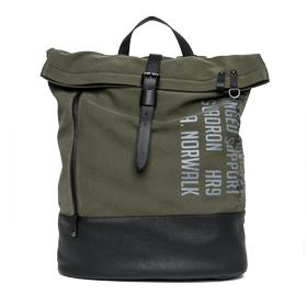 Canvas backpack with eco-leather details fm3295.000.a0050a