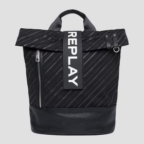 Backpack in logoed technical fabric