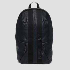 Leather backpack with geometrical cuts