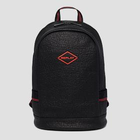 Backpack with embossed pattern