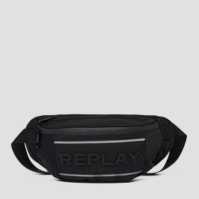 Nylon and denim waist bag