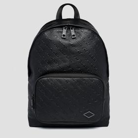 Solid-coloured backpack with all-over REPLAY writing