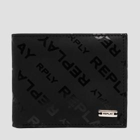 Leather wallet with REPLAY print