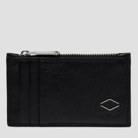 REPLAY cardholder in hammered leather