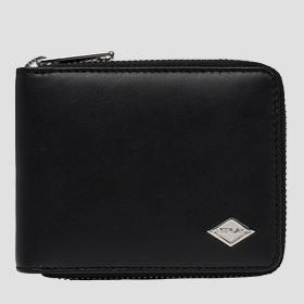 Smooth leather wallet with zipper