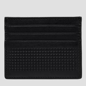 Leather cardholder with dimpled outline