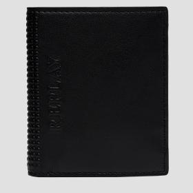 Hammered leather wallet with button