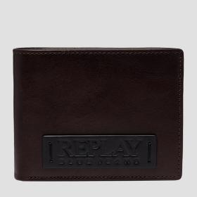 REPLAY BLUE JEANS wallet in solid-coloured hammered leather