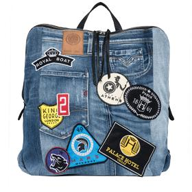 Unisex denim backpack with patches fu3046.001.a0181f