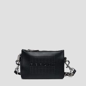 Crossbody bag with double zipper