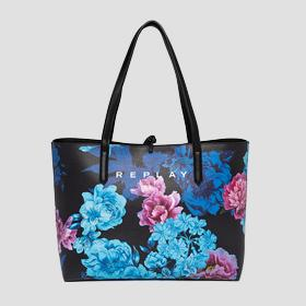 Reversible shopper with floral print