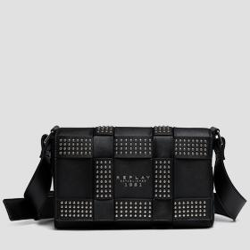 Shoulder bag with weaved pattern and studs