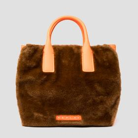 REPLAY eco-fur shopper with fluo detailings
