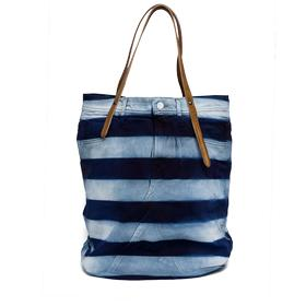 Denim bag with leather handles fw3329.007.a0181a