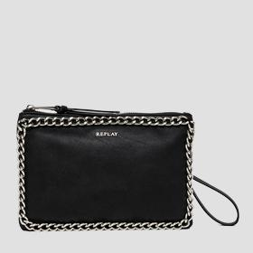 Faux leather clutch with chain detailing