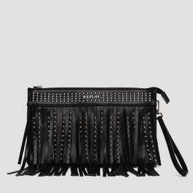 Fringed faux leather clutch with studs