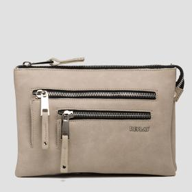 Matte faux leather clutch with pockets