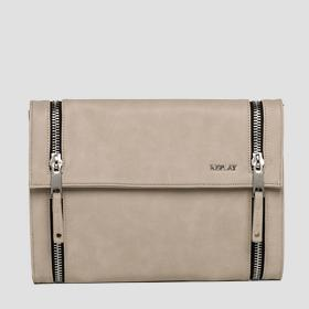 Faux leather clutch with zip detailing