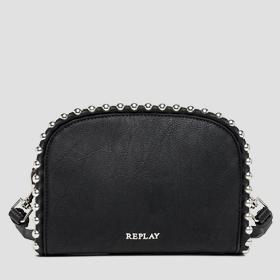 Beaded faux leather clutch