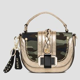 Camouflage canvas and leather handbag