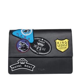 Leather clutch bag with patches fw3709.002.a3053
