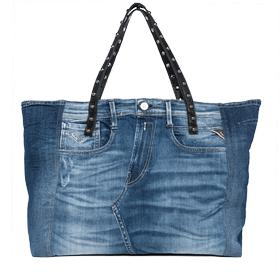 Women's denim and leather bag fw3712.000.a0181f