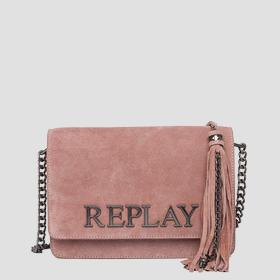Shoulder bag in suede with tassel