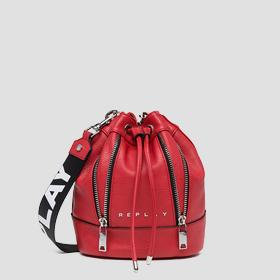 Eco-leather bucket bag with zipper