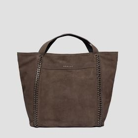Shopper bag in suede with chains