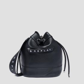 Bucket bag with logoed zipper puller